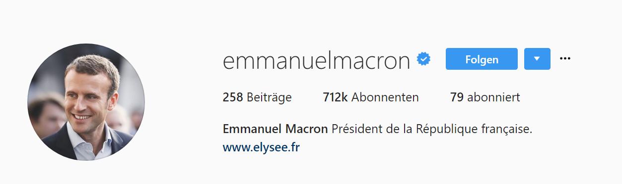 der französische Präsident ist auf allen Social Media Kanälen vertreten
