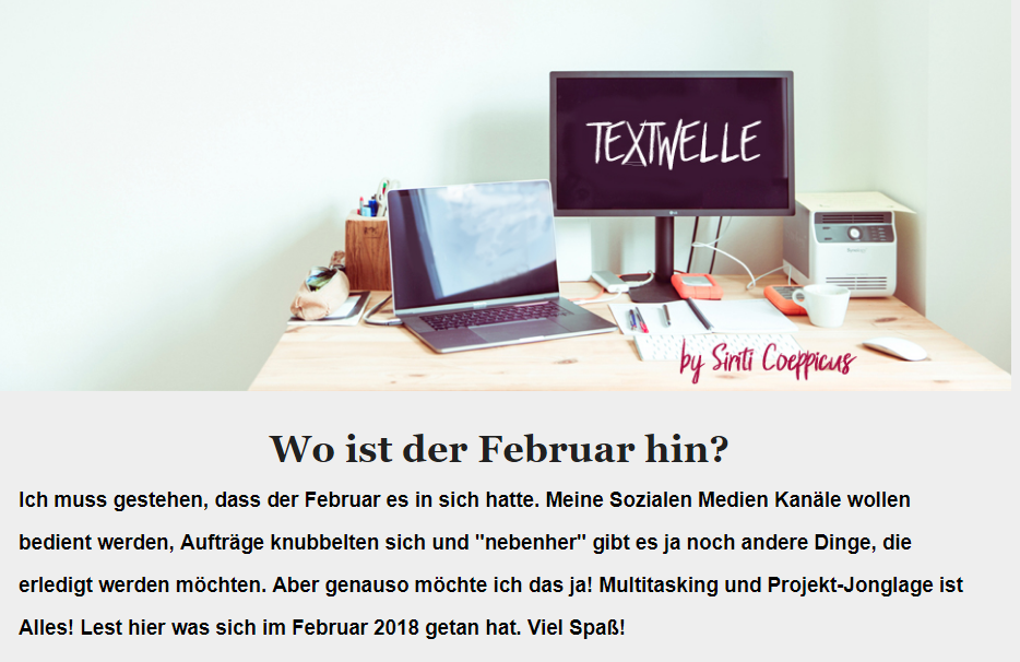 Newsletter von Textwelle ist mehr als nur Neuerungen. HIer stehen die highlights des Monats und Infos zu neusten Beiträgen