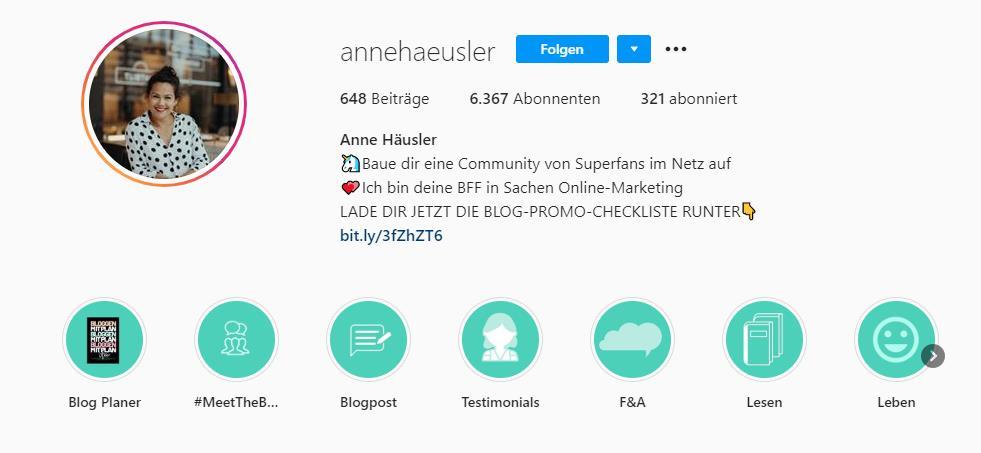 screen highlights annehaeusler - Instagram für Dein Unternehmen