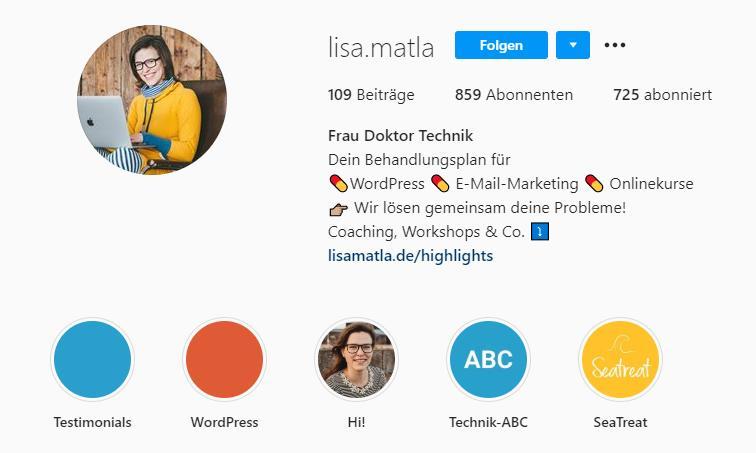 screen highlights lisamatla - Instagram für Dein Unternehmen
