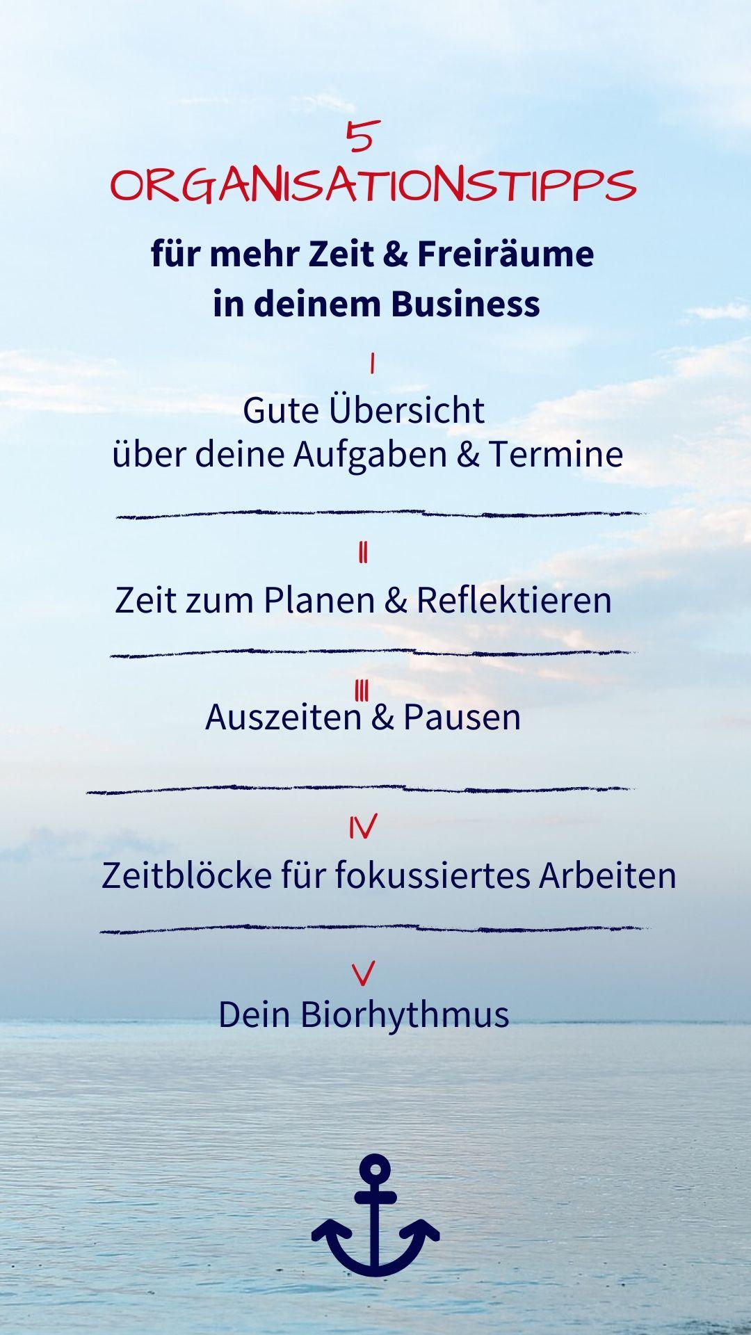 Story 5OrgaTipps 1 - Clevere Selbstorganisation für mehr Freiraum in deinem Business (#25 Gabriele Thies)